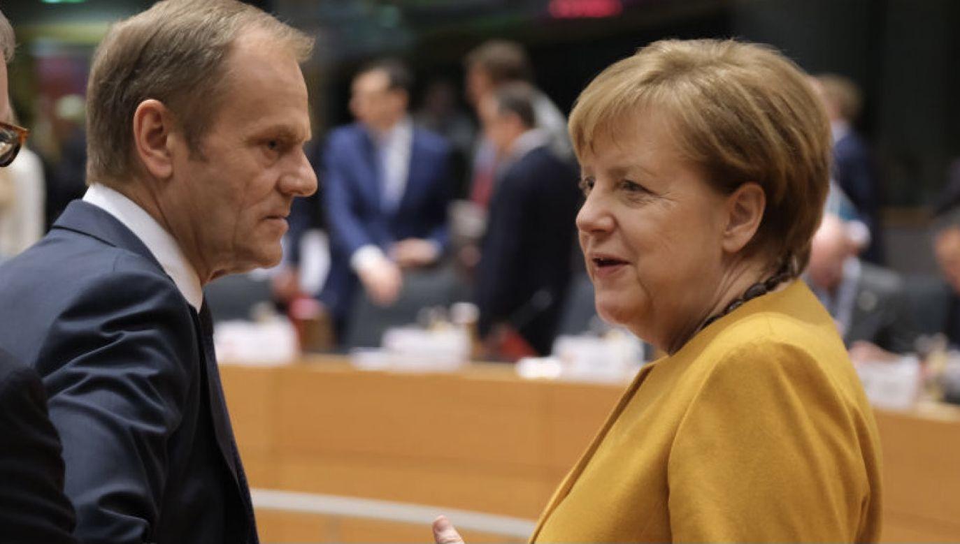 Były premier Donald Tusk i kanclerz Niemiec Angela Merkel (fot. Sean Gallup/Getty Images)