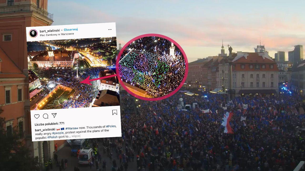 Protest Tuska na Placu Zamkowym nie mógł zgromadzić 100 tys. osób (fot. webcamera.pl; Instagram/bart_wielinski)