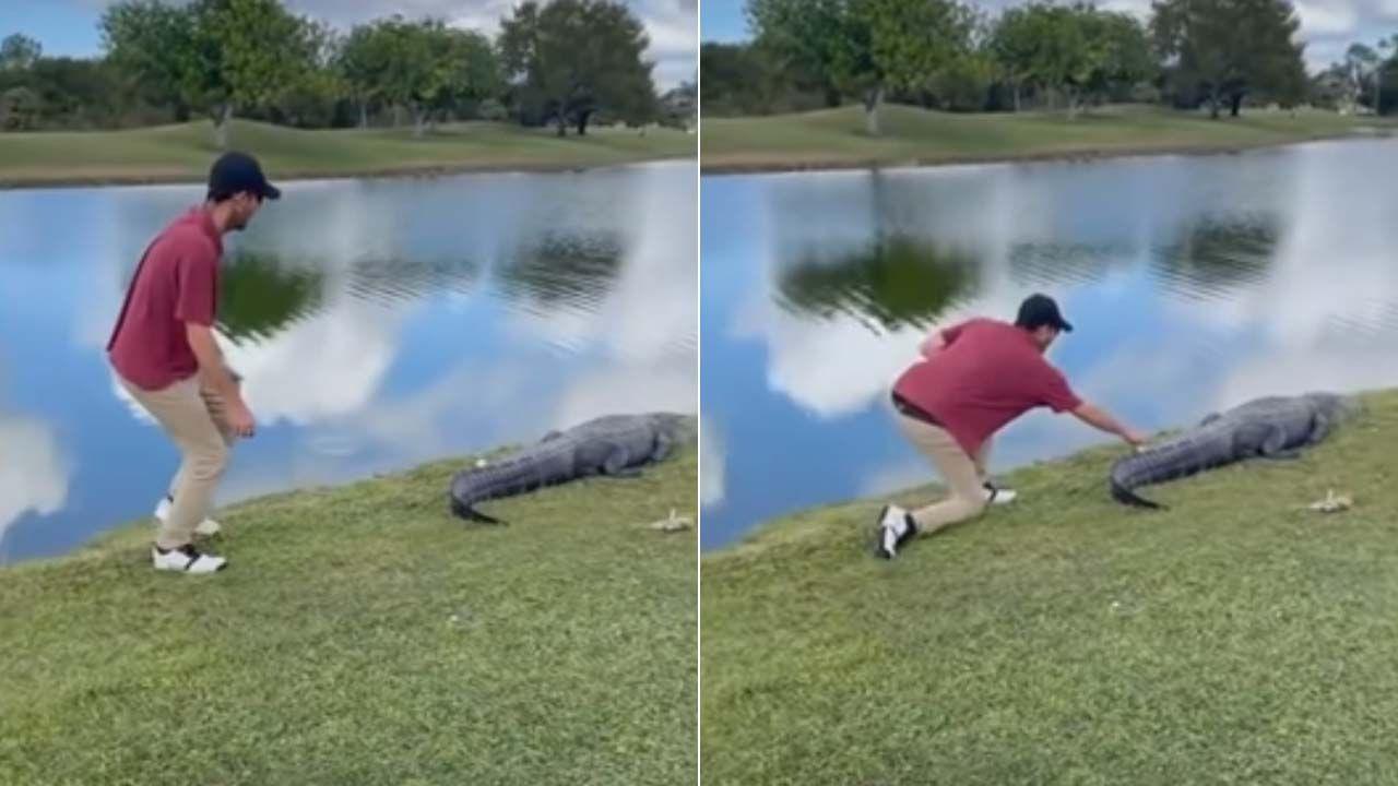 Golfista odebrał piłeczkę (fot. YT/NBC2 News)