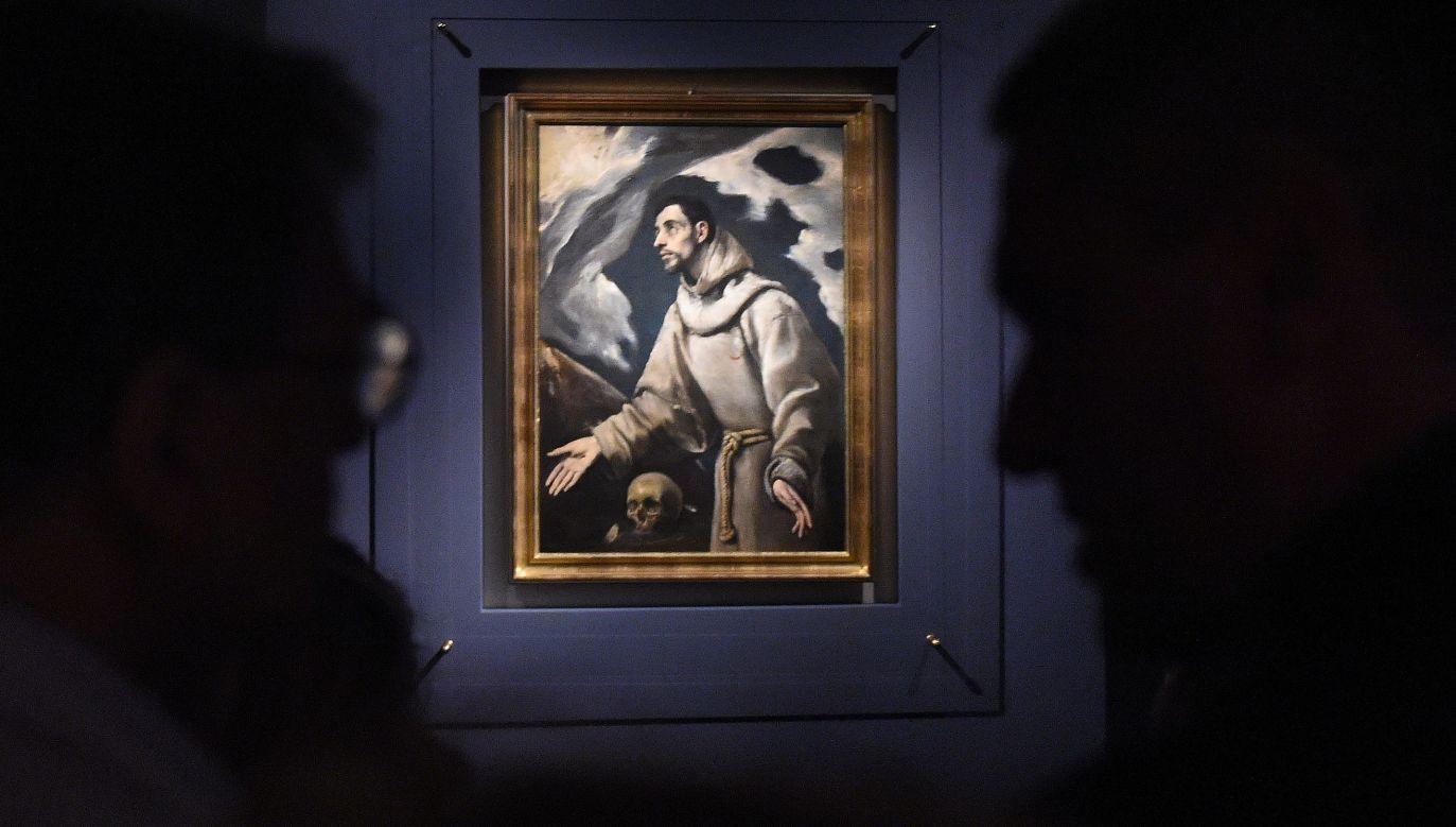 """Obraz """"Ekstaza świętego Franciszka"""" El Greca pochodzący ze zbiorów Muzeum Diecezjalnym w Siedlcach, w 2014 roku został zaprezentowany na Zamku Królewskim w Warszawie. Pochodzące z drugiej połowy XVI w. płótno jest jedynym dziełem El Greca w polskich zbiorach. Fot. PAP/Radek Pietruszka"""