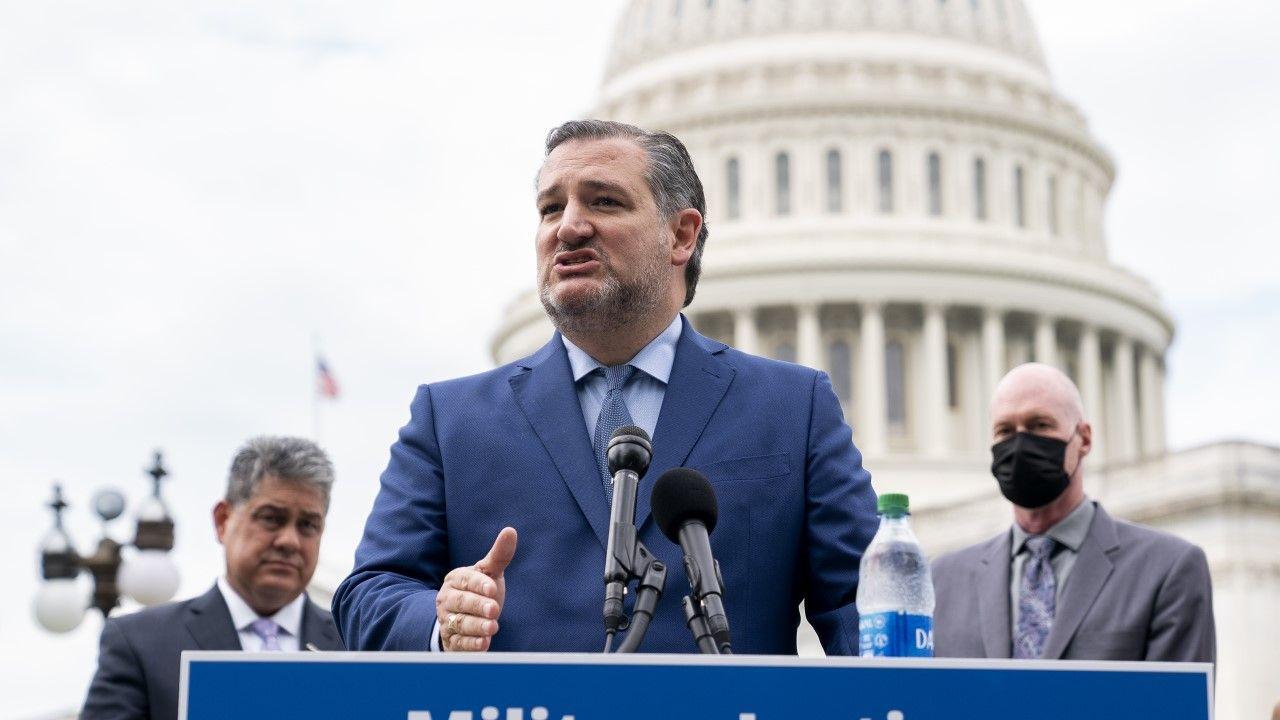 Senator Ted Cruz w trakcie konferencji prasowej przed budynkiem Kapitolu (fot. Stefani Reynolds/Getty Images)