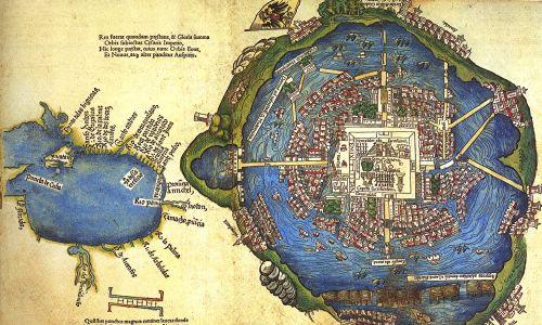 Mapa Tenochtitlán, stolicy Azteków, opublikowany w łacińskim wydaniu